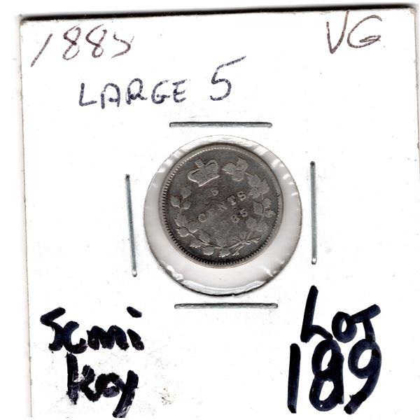 1885 LARGE 5 SEMI KEY FIVE CENTS SILVER
