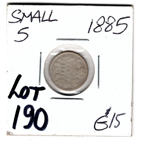 1885 SMALL 5 SEMI KEY FIVE CENTS SILVER