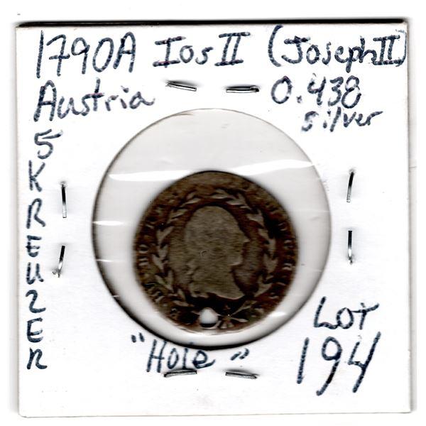 """1790A JOSEPH 2ND AUSTRIA """"5 KREUZER SILVER COIN"""