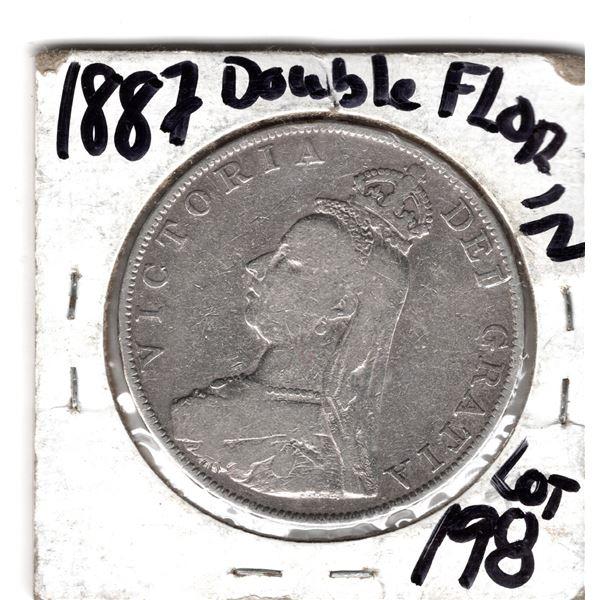 1887 BRITISH DOUBLE FLORIN 925 SILVER COIN