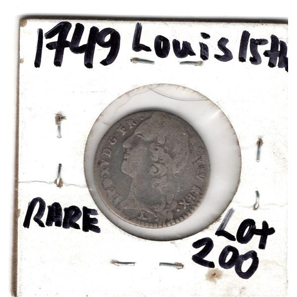 1749 1/10 ECU LOUIS 15TH  SILVER COIN