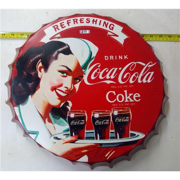 Coca Cola Sign - Bottle Cap Shaped