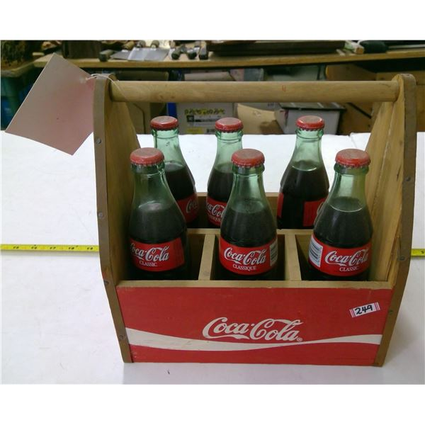 Coca Cola Wooden Caddy with 6 Full Bottles