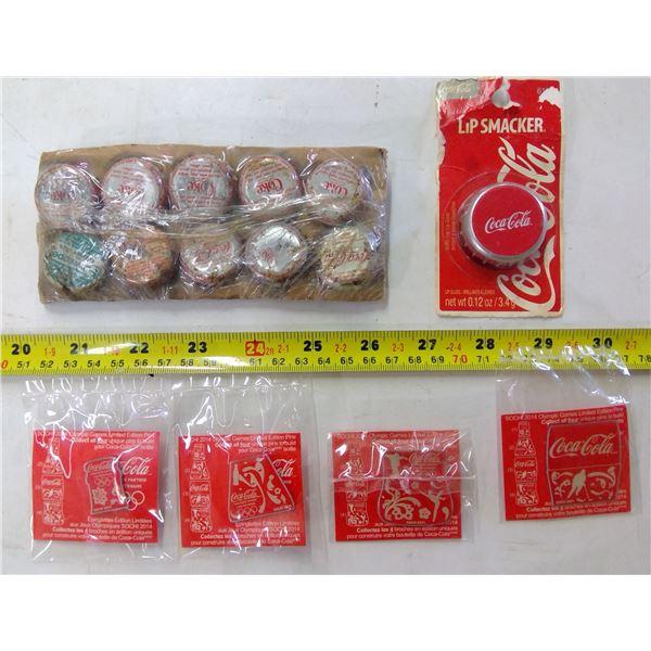 Coca Cola Lot - 10 Bottle Caps, Lip Smacker & 4 Pins