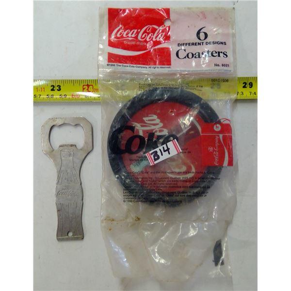 Coca Cola Bottle Opener & 6 Coasters (Unopened)