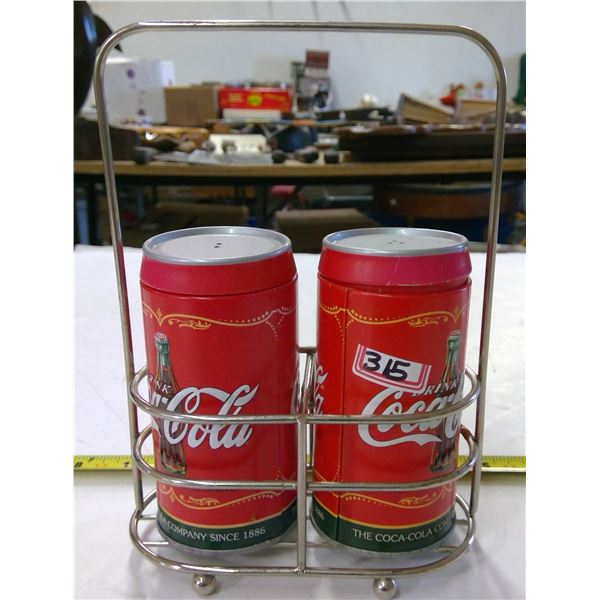 Set of Coca Cola Salt & Pepper Shakers in Stand