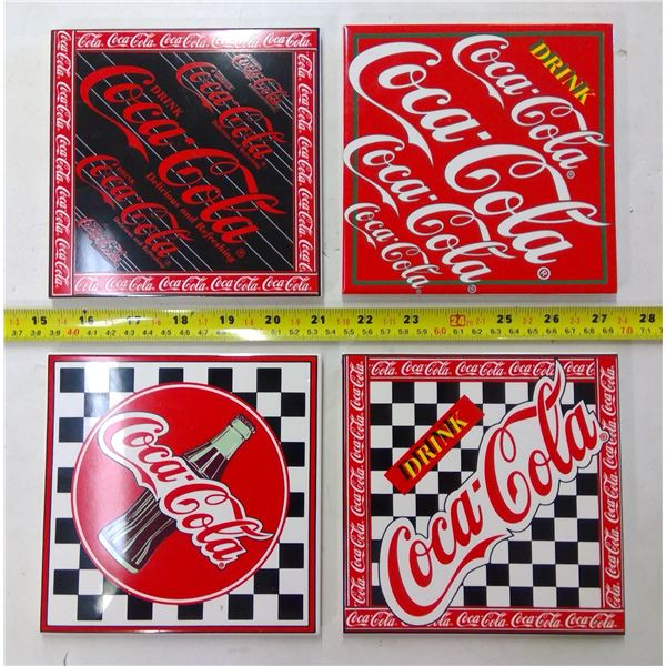 Set of 4 Coca Cola Trivets - 1 Broken