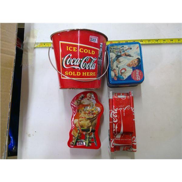"""Coca Cola Lot - 2x Tins, 1 Small Bucket, """"Can"""" Car"""