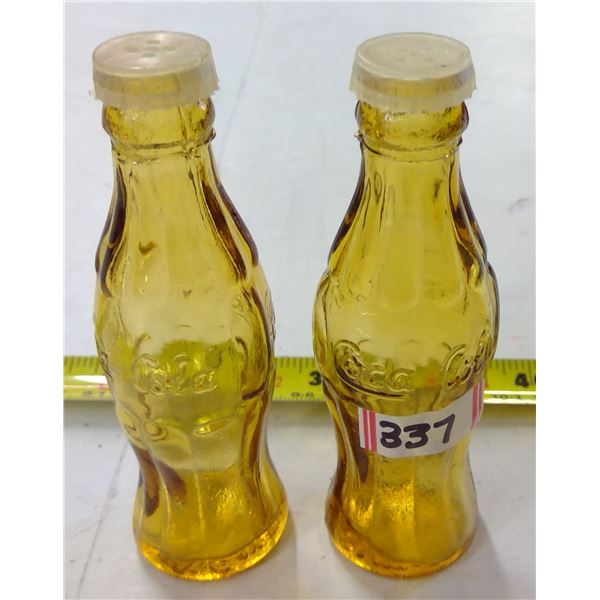 Set of Mini Glass Coca Cola Salt & Pepper Shakers