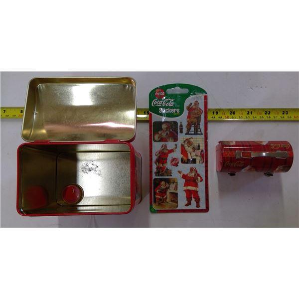 Coca Cola Lot - 2 Tins & Stickers