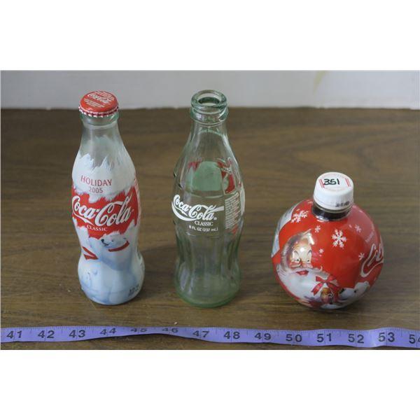 3 Holiday Themed Coke Bottles, 1 Full