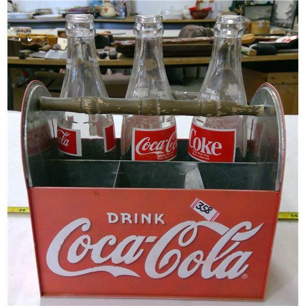 Metal Coca Cola Caddy with 3 Empty Bottles - Broken Handle