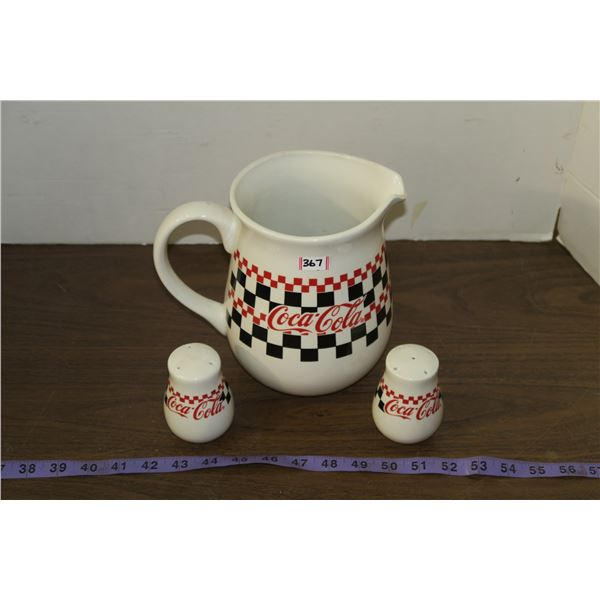 Coca Cola Pitcher & salt and pepper Shakers by Gibson