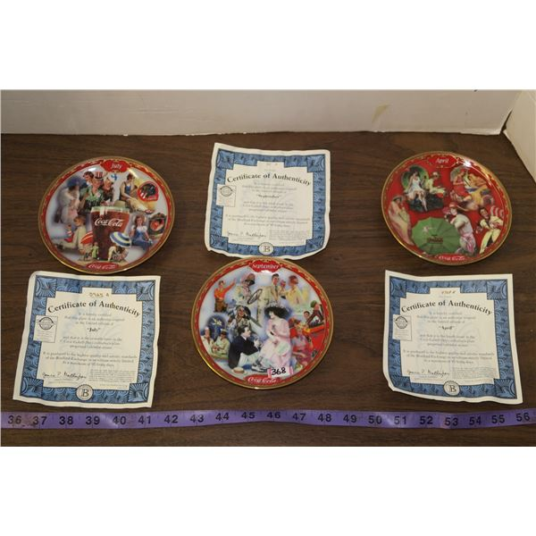 3 Decorative Coca Cola Plates, July, September & April
