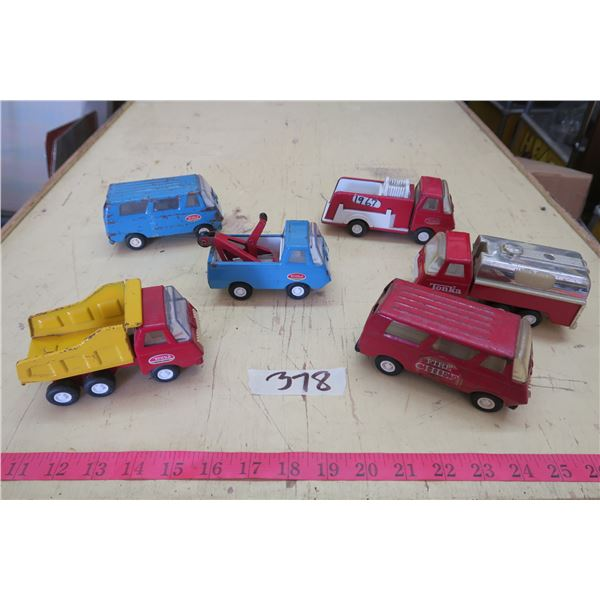6C Metal Tonka Toy Trucks, Vans and Fire Trucks