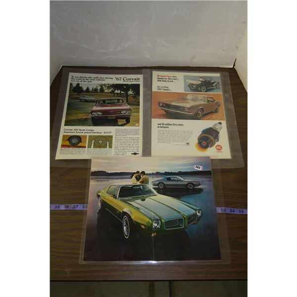 Vintage Car Themed Posters, Laminated