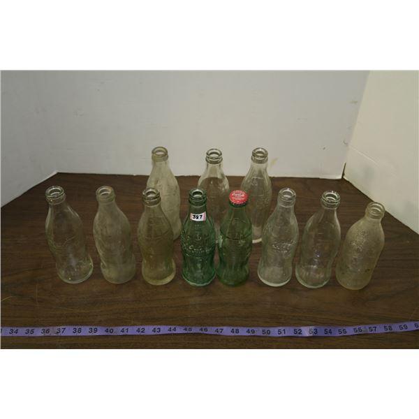 Lot of Vintage Coke Bottles