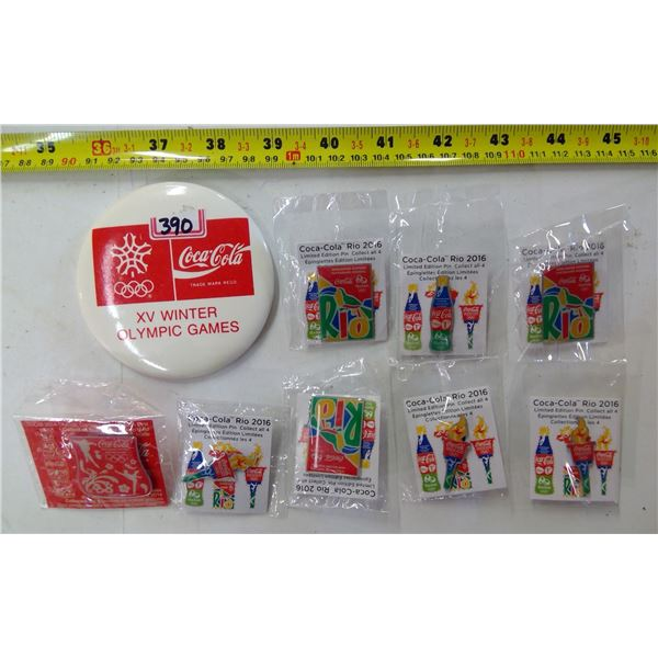 Lot of 9 Coca Cola Pins