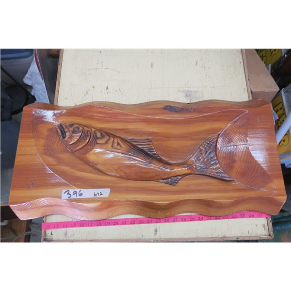 """Wood Carved Fish Picture 30""""X15"""" - Live Edge 3slab"""