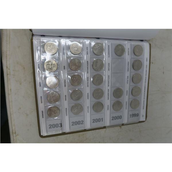 1999-2008 United States Commemorative Quarter Collector's Album with 57 US Quarters