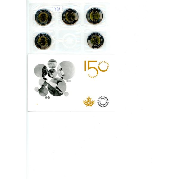 2015 150 Year 5 Piece Coin Collection (Toonies $2)
