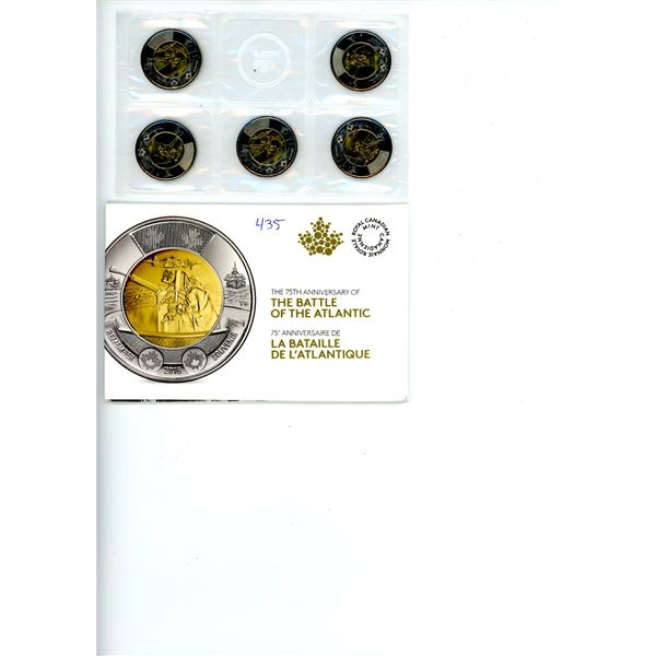 2016 Canadian Commemorative 5 Coin Set - 75th Anniversary of the Battle of the Atlantic (Loonies)