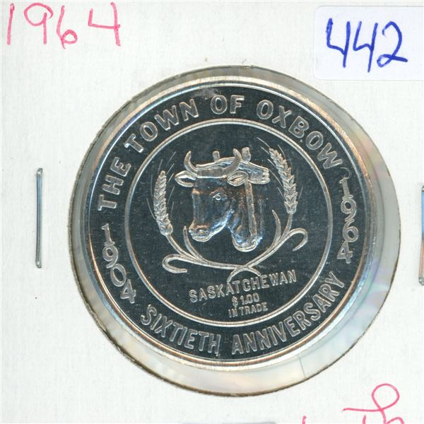 1964 Ox Bow Saskatchewan 60th Anniversary Trade Dollar