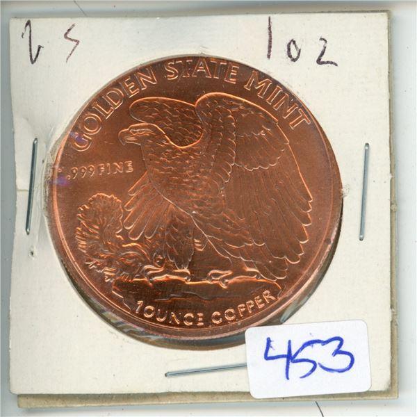US Golden State Mint BIG oz .999 Fine Copper Coin - Liberty (38mm)