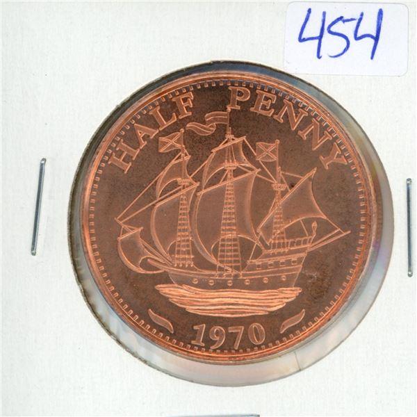 1970 USA BIG Half Penny 1oz .999 Fine Copper Coin (38mm)