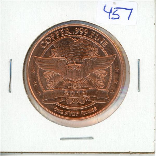 2012 USA BIG Penny 1oz .999 Fine Copper Coin - Lincoln (38mm)