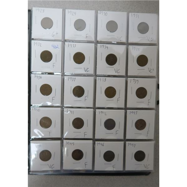 Coin Collector's Binderwith 86 Canadian Pennies from 1928-2012