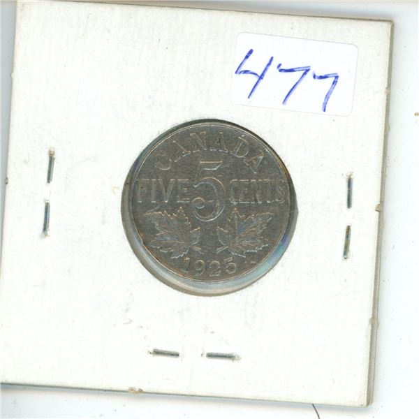 1925 Canadian 5 cent Coin