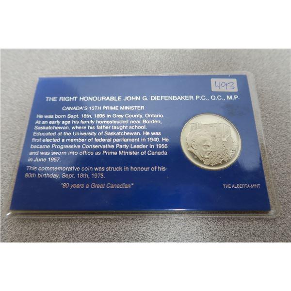 1975 John G. Diefenbaker Commemorative Coin - Alberta Mint