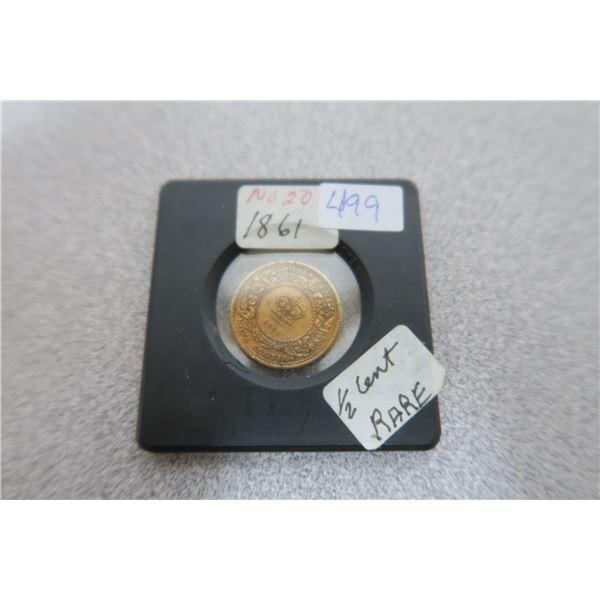 1861 Nova Scotia (Canadian)  1/2 cent Piece RARE