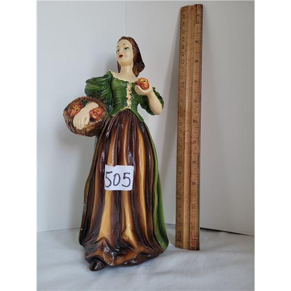 Vintage chalkware statue of a lovely apple lady. Minimal paint nicks.