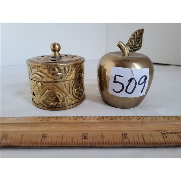 Solid Brass Apple bell and Brass India incense burner.
