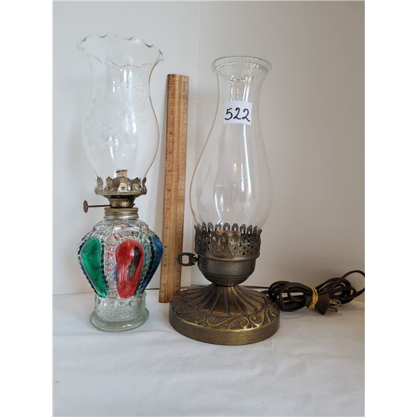 Old chimney lamps, 1 oil, 1 electric.