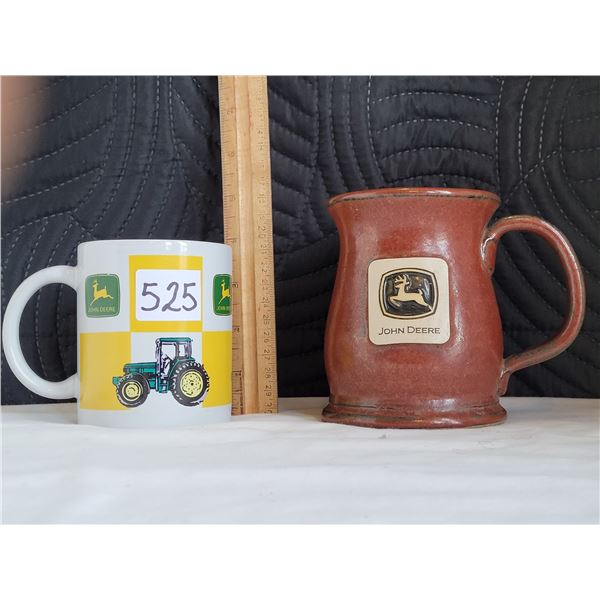 John Deere collector mugs. Brown one is clay fired in the USA and logo is raised.