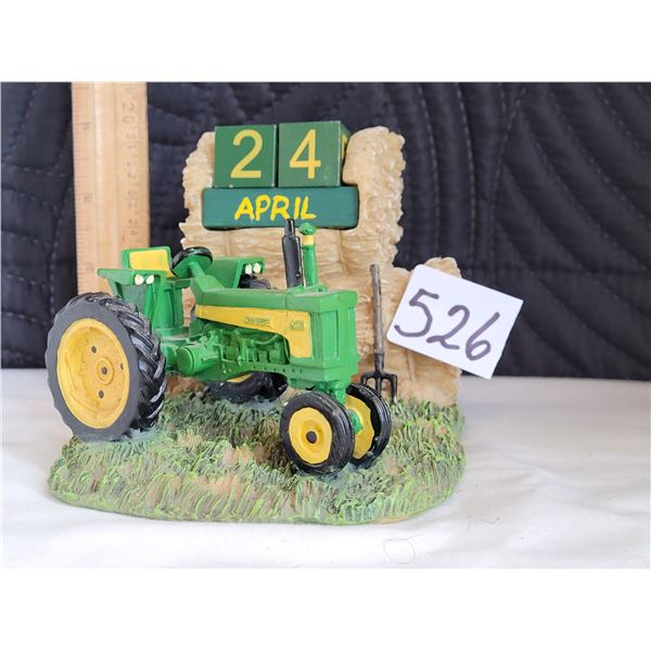 John Deere lovers perpetual desk calendar, with wood movable blocks for months and days.