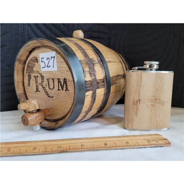 Strapped Oak Rum Barrel made by Deep South Barrels plus an Appleton Rum Flask