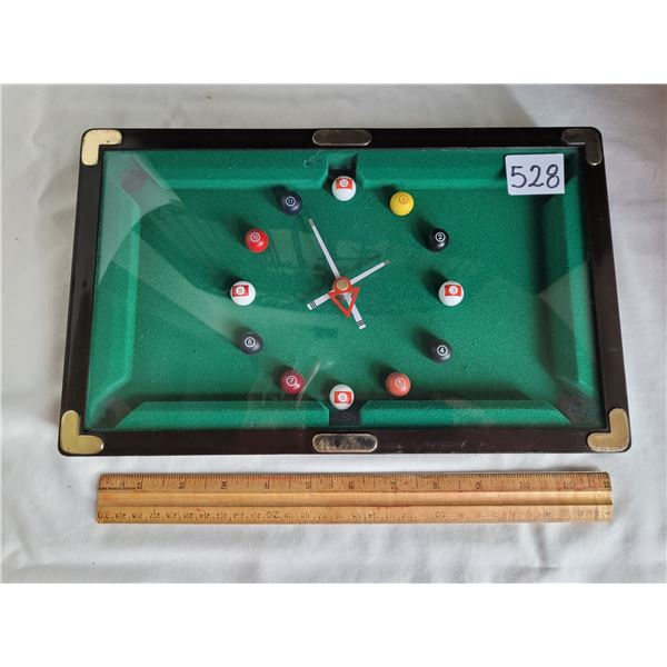 Billiard room pool table wall clock. Working