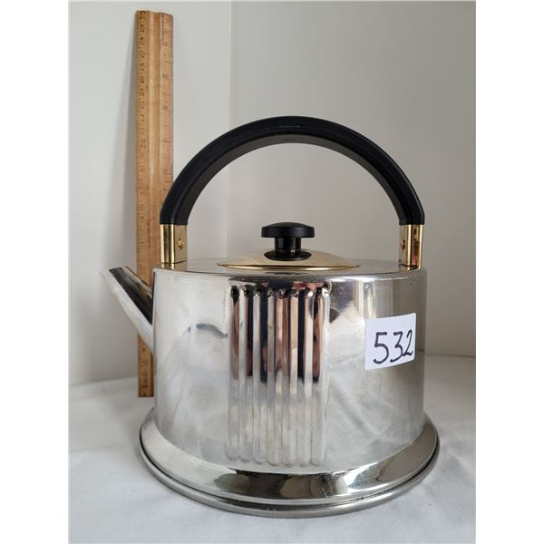 Art deco style, stainless steel, two tone kettle. Excellent condition.