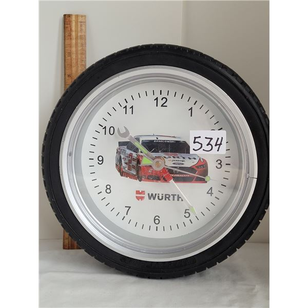 Wurth Racing, battery operated tire clock.