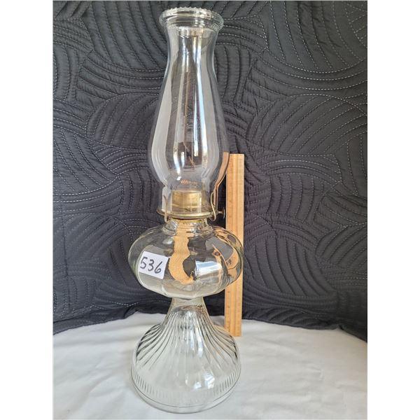 Vintage Clear pedestal oil lamp.