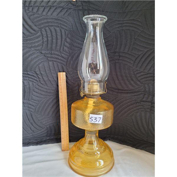 Vintage Amber pedestal oil lamp.