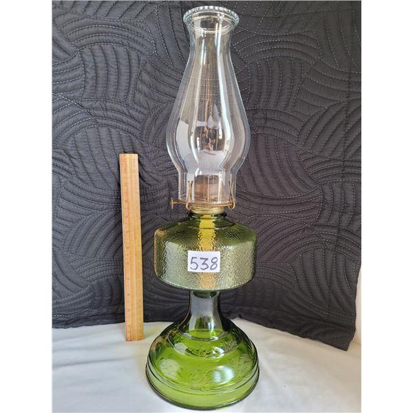 Vintage Green pedestal oil lamp.