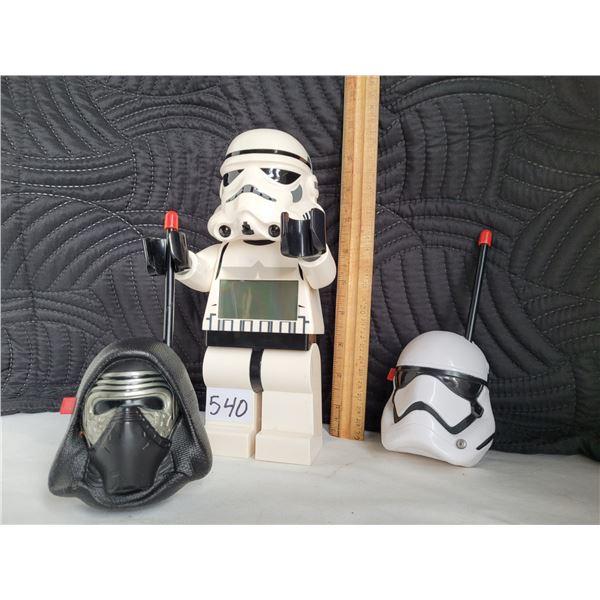 Storm Trooper alarm clock and a set of walkie talkies. Working.