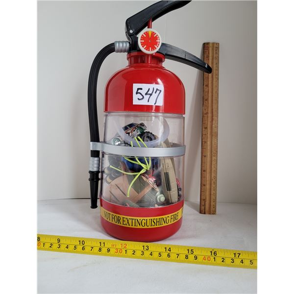 Drink pump Fire Extinguisher. Working & filled with misc. Toys.