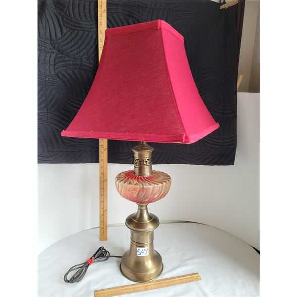 Brass and Glass Parlor lamp with a red shade.