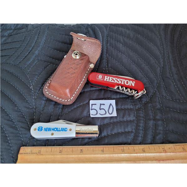 Swiss Army knife in a leather belt case, plus a Barlow pocket knife.
